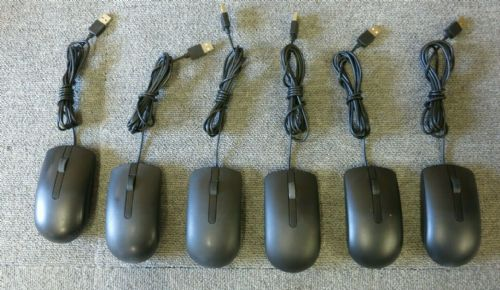 5 x Dell MS116T 0DVORH Black USB Wired 3 Button Optical Scroll Wheel Mouse